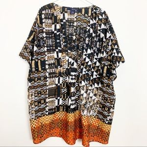 Plus Size V-Neck Ethnic Print Pullover Tunic